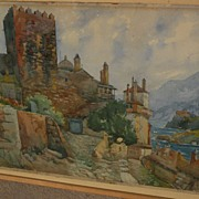 THEODORE CHARLES BALKE (1874-1951) fine watercolor of monastery at Mt. Athos Greece by listed