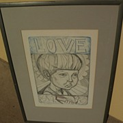 """IRVING AMEN (1918-) pencil signed etching and aquatint print titled """"Love and Peace"""""""