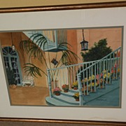 New Orleans art original watercolor painting of Brulatour Courtyard by Philadelphia artist Flo