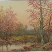 Large impressionist signed drawing of autumn forest with lake or pond