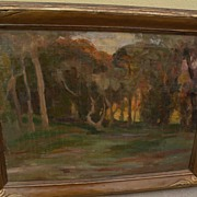 Vintage California plein air landscape painting in beautiful vintage frame from estate of ...
