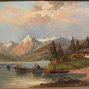 19th century European painting German or Austrian mountain lake landscape