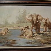 Sporting and wildlife art beautifully executed painting of elephants in the bush by artist Don