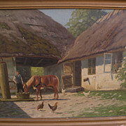 KAI DREWS (1884-1964) Danish art oil painting of house and barn with figure and farm animals b
