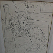 WAYNE  LA COM (1922-) California art original ink still life drawing by well listed ...