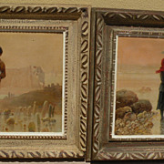 PIERRE TESTU (19th/20th century French) **PAIR** of oil paintings of shellfish gatherers at th
