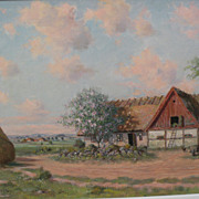 CARL MANSSON (1892-1976) Swedish art impressionist painting of a farm and barn area by listed