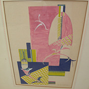 Mid century modern design semi-abstract gouache drawing circa 1950's signed Gilmore