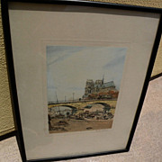 EUGENE VEDER (1876-1936) pencil signed color etching of Notre Dame and the Seine by noted Fren