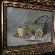 Antique American still life oil painting signed A. L. Buck