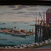 RAYMOND JAMES HOLDEN (1901-c. 1984) American art original New England fishing dock scene ...