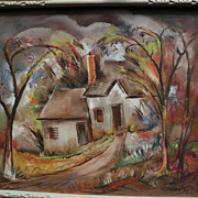 """BENJAMIN ALBERT STAHL (1910-1987) expressionist oil painting """"Laurel Canyon"""" by impo"""