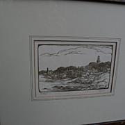 "THOMAS NASON (1889-1971) woodblock print ""Rockport"" pencil signed by relative"