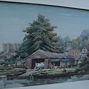 JAMES C. MIDDLETON (1894-1969) English watercolor painting of boathouse by listed artist