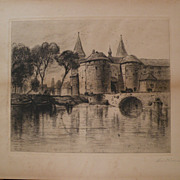 SAMUEL COLMAN (1832-1920) American art pencil signed etching print by important 19th century .