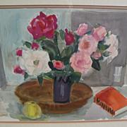 ROLF DIENER (1906-1988) modern German art original watercolor still life painting