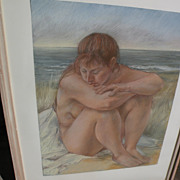LOU KOHL-MORGAN (1942-) exquisite original large pastel drawing of a nude by accomplished gall