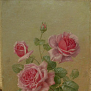SAMUEL S. NICOLINI (1855-) roses still life painting by European artist associated with Califo