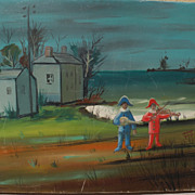NINO GIUFFRIDA (1924-) modernist landscape painting with harlequins by well listed French-Ital