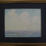 HARRY LESLIE HOFFMAN (1871-1964) American art delicate watercolor seascape painting possibly o