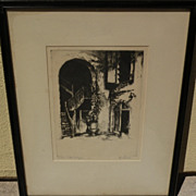 GERRY PEIRCE (1900-1969) pencil signed etching of New Orleans French Quarter courtyard by note