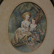 LAURE CLERBOIS (1859-1944) miniature watercolor painting by listed Belgian and California arti
