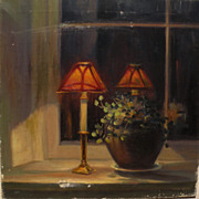 CHRISTIAN MIDJO (1880-1973) antique painting of Arts and Crafts style lamps in a window ...