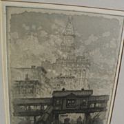 """HENRY VAN NOTTI (1876-1962) New York City etching """"The L"""" listed artist"""