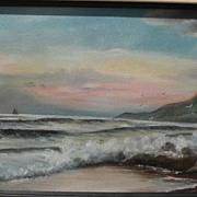 American art vintage painting circa 1900 coastal seascape