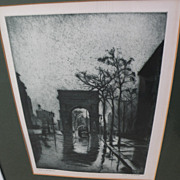 "ELIAS MANDEL GROSSMAN (1898-1947) elegant etching aquatint print ""Rain on the Square"""