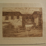 "MARY DENEALE MORGAN (1868-1948) pencil signed etching titled ""Robert Louis Stevenson Hous"