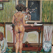 Contemporary American art interesting impressionist oil painting of a nude in an interior ...