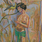 Contemporary American art interesting impressionist oil painting of a nude in a tropical or ..