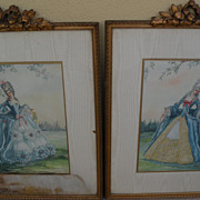 PAIR of ornately framed watercolor paintings of women in elegant 18th century costume by Calif
