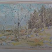 MARION GRAY TRAVER (1892-) American art original monotype print of impressionist landscape