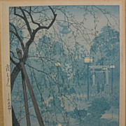 "SHIRO KASAMATSU (1898-1991) Japanese woodblock print ""Misty Evening at Shinobazu Pond, To"