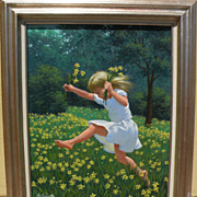 ARTHUR SARNOFF (1912-2000) American illustration art painting of young girl in a field of ...