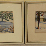 MARGUERITE BARNETT BLUMER (1901-1990) pair of watercolor and crayon paintings by listed Oklaho