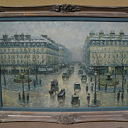 G. SHERMAN contemporary impressionist painting of classic Paris street scene by popular auctio