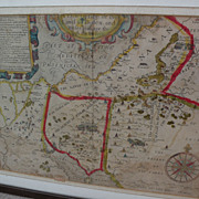 Antique engraved and hand colored 1614 map of Sinai and the Holy Land by cartographer William