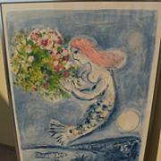 "MARC CHAGALL (1887-1985) original lithograph in colors ""Nice Soleil Fleurs"" 1962 edi"