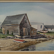 ROBERT BROOKS (1922-1992) original watercolor painting of Cape Cod harborside buildings by lis