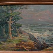 EDDA MAXWELL HEATH (1874-1972) Monterey California plein air art impressionist painting of cyp