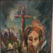 WILLY STAHL (1896-1963) expressionist painting of Jesus and the cross by known California ...