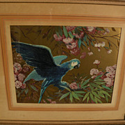 Signed decorative painting of parrot  in gouache and gold paint with Art Deco qualities