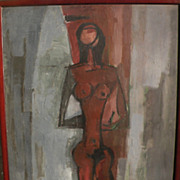 PAOLO RISSONE (1925-) rare modernist figural painting by well exhibited Italian artist associa
