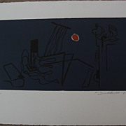 HANS BURKHARDT (1904-1994) signed numbered color  print by important Swiss-born California mod