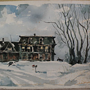 California artist signed watercolor painting of an old house