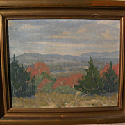 Impressionist old American landscape painting circa 1930