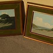 RICHARD DETREVILLE (1864-1929) California art **PAIR** of coastal dunes landscape painting